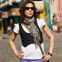 Scenester and hipster fashion often overlap, with followers sporting scarves, sunglasses and tight jeans.