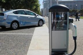 A new electric vehicle charging station near San Francisco city hall. There are currently 120 stations in the area but the city plans to increase that to 5,000 in coming years.