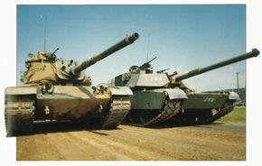 The American M-60 Main Battle Tank (left) and American M-1 Abrams Main Battle Tank (right).
