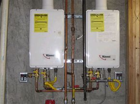 These two tankless water heaters are set up in parallel for extra heating power.