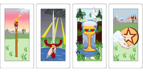 Cards of the minor arcana: aces of wands, swords, cups, and circles and pentacles