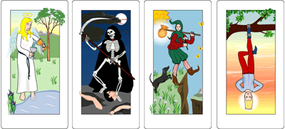 Cards of the major arcana: Temperance, Death, the Fool and the Hanged Man