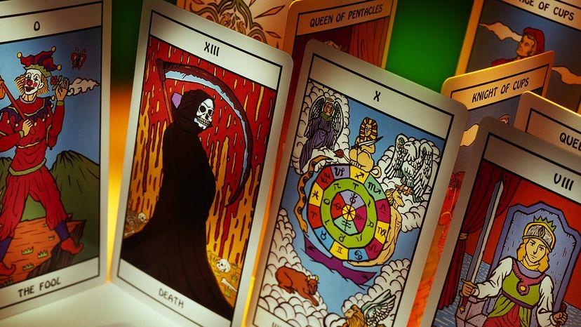 An assortment of Tarot cards