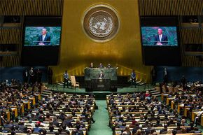 U.S. President Barack Obama speaks at the 69th United Nations (U.N.) General Assembly at U.N. headquarters in New York City. Foreigners working for the U.N. in the U.S. do not have to pay U.S. income tax.