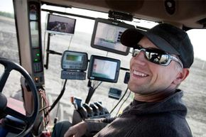 Nowadays, farmers have lots of high-tech equipment to help them out.