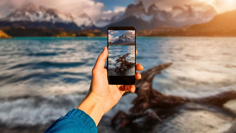 taking scenery shot with smartphone Torres del Paine, Chile