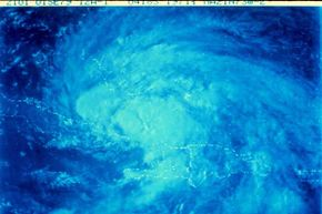 Satellite view of a tropical storm in the Caribbean area.