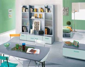Go beyond bedroom basics and add pieces that befit a chic studio apartment, such as a scaled wall unit or a dining/work table perfect for studying.