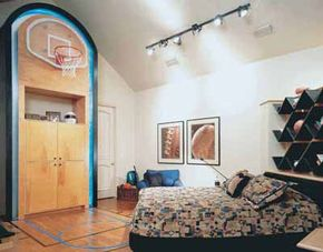 This bedroom sports a scaled-down basketball court done up in favorite team colors. The shelving echoes the Cubist-inspired bed ensemble. Learn how to build checkmark shelves.