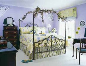 Contemporary floral and plaid prints in soft lime, lilac, and white create a romantic scheme your teenage daughter won't outgrow.