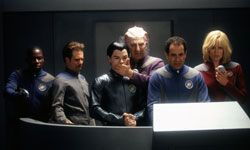 """""""Galaxy Quest"""" crew members watch in horror as their ship's teleporter turns an alien pig lizard inside out."""