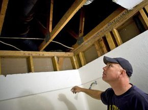 Norhtwoods subcontractor Doug Jollenbeck repairs mold damage in Sacramento, Calif.