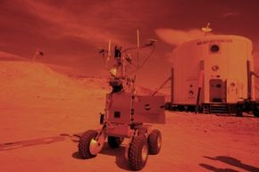Snapshot of the Mars Society Desert Research Station in Hanksville, Utah, photographed, of course, with an orange filter.