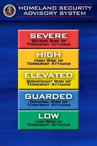 The U.S. Homeland Security Advisory System tells civilians, businesses and government authorities how prepared they should be for a terrorist attack.