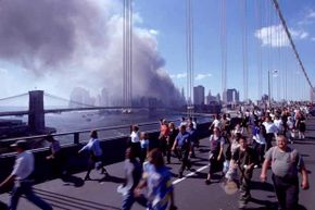Hundreds cross the Brooklyn Bridge after the bombing of the World Trade Center in 2001. That was an example of a terrorist attack that succeeded but many others have not.