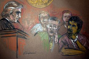 In this artist's rendering, Mukthar al-Bakri (R) and defense attorney John Malloy (C) appear before Judge William Skretny (L) during sentencing in U.S. District Court, Dec. 3, 2003 in Buffalo, N.Y.
