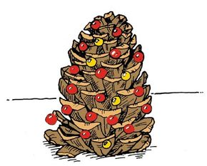 You can turn a pine cone into a fancy holiday tree.