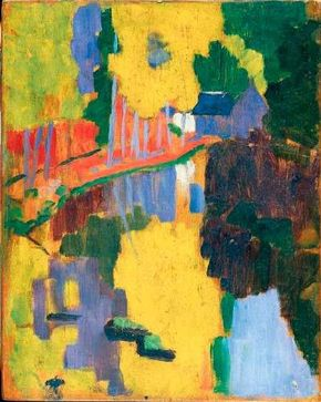 The Talisman by Paul Sérusier (oil on wood, 106-1/4 x 84-5/8 inches) appears in the Musée d'Orsay in Paris. See more pictures of Impressionist paintings.