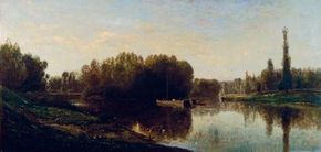 The Banks of the Oise by Charles-Francois Daubigny is an oil on canvas (35-3/8 x 71-5/8 inches) that is housed in Musée des Beaux-Arts in Bordeaux, France.