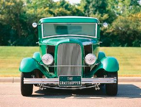 The Grasshopper, which the Alexander Brothers built on a 1931 Model A pickup, features 1942 Dodge truck headlights. See more custom car pictures.