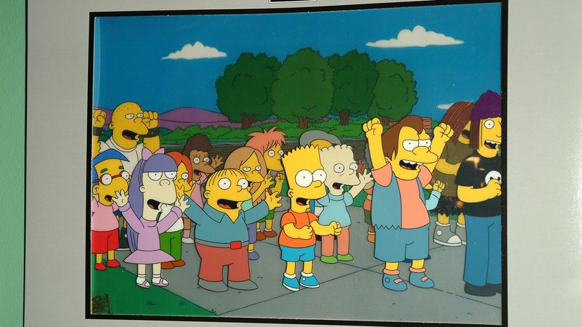 An original animation cel from the show depicts some of Springfield's wacky denizens. Michael Tullberg/Getty Images
