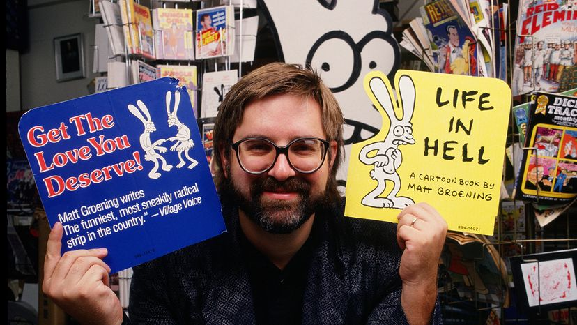 """""""The Simpsons"""" creator Matt Groening holds up ads for his comic. George Rose/Hulton Archive/Getty Images"""