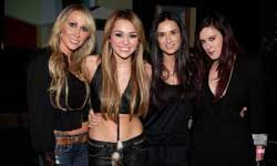 Like mother, like daughter is not always a good idea. Here's Miley Cyrus and her lookalike mom celebrating her 18th birthday (with Demi Moore and her daughter).
