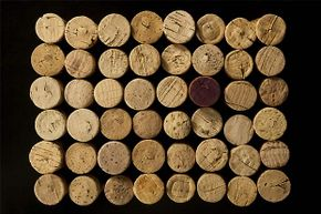 Wine corks can be glued together to make a bulletin board.