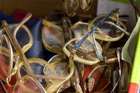 Used eyeglasses can be recycled and given to people in developing countries who don't have any.