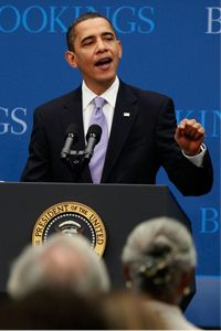 Think tanks typically dole out the advice on a particular issue, but sometimes it's the other way around. In this picture, President Obama speaks about job creation and economic growth at the Brookings Institution on Dec. 8, 2009, in Washington, D.C.