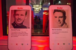 Fake Tinder profiles for Donald Trump and Sen. Bernie Sanders on display at a party hosted by Tinder and Independent Journal Review.