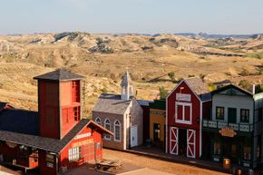 The stage for the Medora Musical certainly looks the part of Old West town.