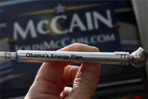 """One of the famous tire pressure gauges distributed by the campaign of Republican presidential candidate John McCain is inscribed """"Obama's Energy Plan."""""""
