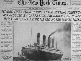 New York Times Titanic headline