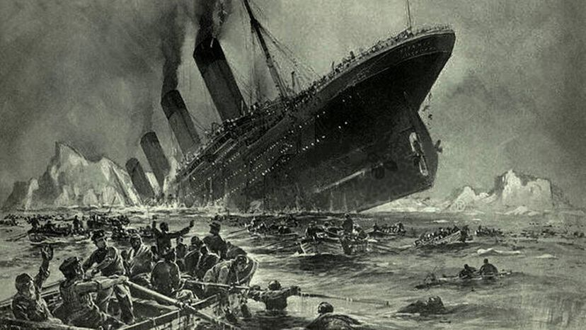 An artist's impression of the sinking of the Titanic.
