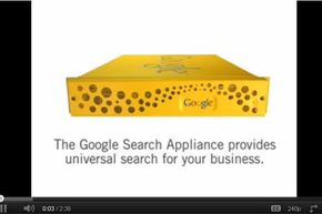A business can install a Google Search Appliance -- shown here in a screen capture from a Google promotional video -- behind its firewall to apply powerful indexing and searching features to protected cloud resources.