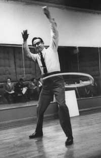 TV Show Image Gallery Comedian Steve Allen hula-hooping during rehearsal.