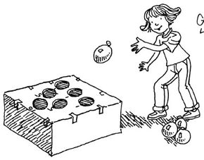 The balloon toss game is easy to make and play.