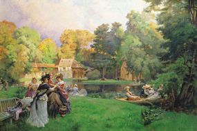 An artist's depiction of Petit Trianon in the summer, with a merry group frolicking and picnicking on the isolated grounds.