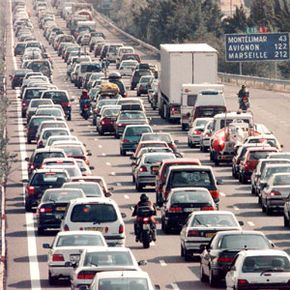 Motorists heading to the French Riviera for their vacation are stuck on the A7 highway near Valence, southwestern France.
