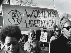 A 1969 women's liberation march in support of the Black Panthers.