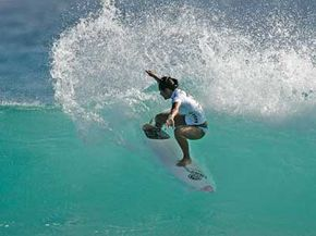 Hawaii's Megan Abubo competes in round one of the Roxy Pro onthe ASP World Championship Tourin 2005 inGold Coast, Queensland, Australia.