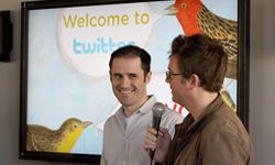 Twitter co-founder and CEO Evan Williams (L) and co-founder Biz Stone at Twitter headquarters.