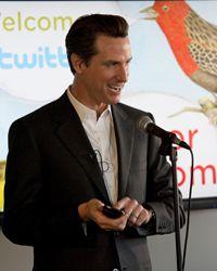 San Francisco Mayor Gavin Newsom speaks at Twitter headquarters March 10, 2009 in San Francisco, California.