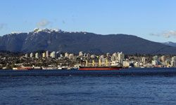 A scenic view of West Vancouver from Stanley Park.