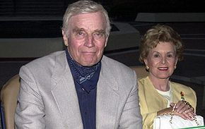 """""""Soylent Green"""" starred Charlton Heston, pictured here with his wife."""