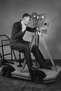 A very early version of the camera dolly, which isn't too different from today's dolly