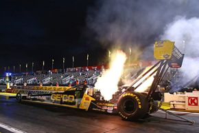 Experts estimate Top Fuel cars can reach over 150 decibels, a level that can cause physical damage to the eardrum.