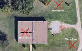 Satellite image of the infrasound array at Oklahoma State University