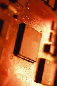 Manufacturers quickly stamp components onto semiconductor material to save time and money.